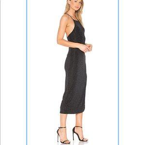 Black & Silver Stretchy Midi Maxi Cocktail Dress
